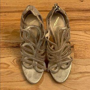 Brian Atwood gold stilettos
